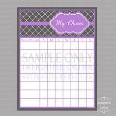 Purple Trellis Chore Chart - PDF File - Instant Digital Download
