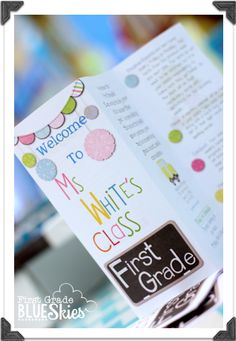 First Grade Blue Skies: Custom Classroom Brochure for Open House {Giveaway}