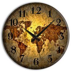 Frank Ray Dünya Haritası Duvar Saati 60x60cm - Altıncı Cadde