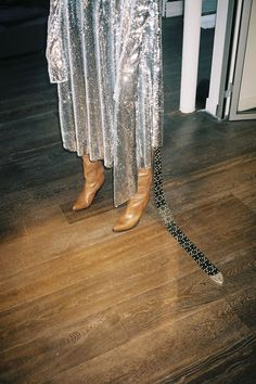 silver sequin long sleeve vetements dress