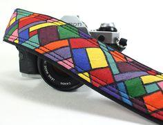 Camera Strap, Handpainted, Geometric, OOAK, dSLR or SLR