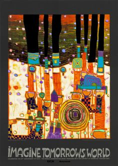 Imagine Tomorrows World (orange) Posters by Friedensreich Hundertwasser at AllPosters.com