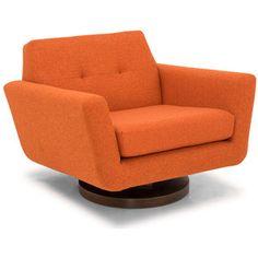 Joybird Hughes Mid Century Modern Beige Swivel Chair