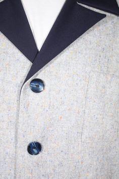 Size L+ Dark Blue Gabardine & Grey Flecked Hollywood Jacket. See more or buy it at: http://www.reprovintageclothing.com/clothing/clothing_men/cm0234.html