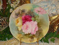 HAVILAND - Limoges - France - Plate - Hand Painted - Victorian Bouquet from onlyfinelines on Ruby Lane