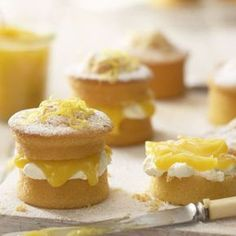 Mini Lemon Curd Sponge Cakes - - Afternoon Tea or Spring Mothers Day cakes and baking inspiration - recipe by Lakeland in their miniature Victoria sandwich tin Lemon Recipes, Tea Recipes, Sweet Recipes, Baking Recipes, Dessert Recipes, Mini Desserts, Just Desserts, Delicious Desserts, Mini Cakes