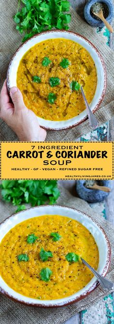 Extremely healthy Carrot & Coriander Soup that only contains 7 healthy natural ingredients that you will already have in your kitchen This soup is absolutely rammed full of flavour and is gluten free, wheat free, vegan, plant-based, egg free and refined sugar free! Give it a try, you wont't be disappointed