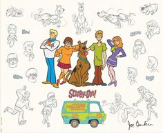 """The Mystery Gang Model Sheet"" was inspired by the hit TV series, ""Scooby-Doo Where Are You."" The show was developed by Hanna-Barbera from an idea by Fred Silverman, head of CBS Daytime Programming. The characters were designed by Iwao Takamoto. Scooby-Doo first aired on television in 1969 and still plays regularly today, making it one of the longest running animated programs in TV history. The featured characters are: Scooby-Doo, Shaggy, Fred, Daphne, Velma and The Mystery Machine."