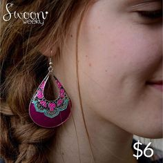 Mandala Earrings, $6. These large purple, aqua, and fuchsia teardrop cut-out earrings surprised us with their versatility. These are definite head turners. $6/pair. #earrings #earring #purple #mandala #dangle #drop #fuschia #aqua #boho #bohemian #swoonworthy #swoon #swoonweekly #sopretty #stylin #instafab #lovethese #buyme #sixbucks #beautiful #lovely