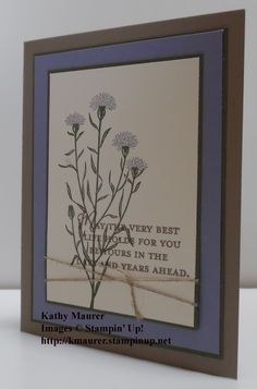 Stampin' Up!'s Wild about Flowers Stamp Set used to make this retirement Card.  For details, go to my Thursday, July 2, 2015, blog at http://kmaurer.stampinup.net
