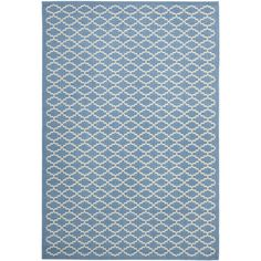 This beautiful periwinkle blue indoor/outdoor rug has the style for interior use, but the durability to stand the test of time no matter where you use it. This power-loomed polypropylene rug is resistant to harmful sun, mold, mildew, and water damage.