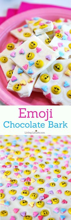 Emoji Chocolate Bark makes a simple and adorable Valentine's Day Treat! This white chocolate dessert is perfect for a school party or birthday. #valentine #chocolate #emoji
