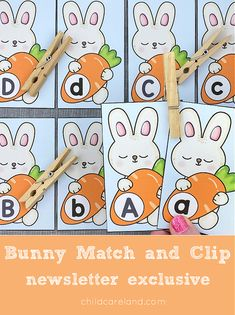 Bunny Match and Clip Early Learning Activities, Classroom Activities, Teaching Tools, Bunny, Comics, Blog, Easter, Printables, Holiday