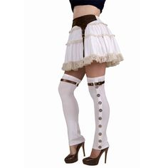Steampunk White Buckled Spats | FX Contact Lenses