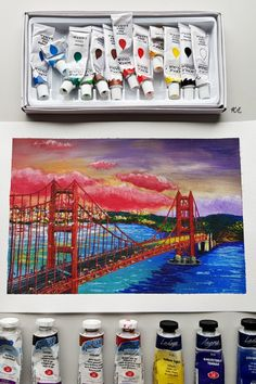 #GoldenGateBridge acrylic drawing Acrylic Colors, Paint Colors, Golden Gate Bridge, Drawings, Painting, Paint Colours, Painting Art, Paintings, Drawing
