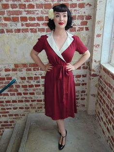 Peggy Wrap in Wine & Ivory   www.TheSeamstressOfBloomsbury.co.uk