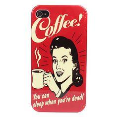 Carcasa Dura de Mujer y Café para el iPhone 4 y 4S – CLP $ 1.787
