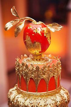 Cake Opera Co Colin Miller A persimmon, made of fondant and coated with flecks of gold leaf, tops the bright, ornate confection. Gorgeous Cakes, Pretty Cakes, Amazing Cakes, Cupcakes, Cupcake Cookies, Unique Cakes, Creative Cakes, Elegant Cakes, Fancy Cakes