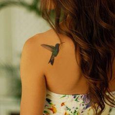 small hummingbird watercolor tattoo on shoulder - simple, bird, upper back