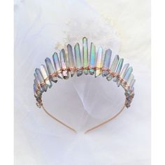 crown tiara and crystal tiaras crowns+ Diy Jewelry, Handmade Jewelry, Fashion Jewelry, Jewelry Making, Jewellery, Women's Fashion, Crystal Crown, Crystal Jewelry, Crystal Garland