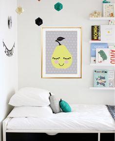 Pear Print, Kids Print Poster, Baby Print Poster, Happy Art, Fruit Print, Wall Decor, Childrens Art, Gift For Baby, Girls Room Decor.