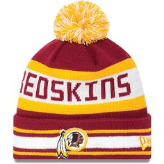 Mens Washington Redskins New Era White Breast Cancer Awareness On Field Cuffed Knit Hat With Pom