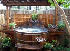 Manufacturer of cedar hot tubs,wood tanks,wood hot tubs,barrel saunas Custom Leisure Products Spa Exterior, Barrel Sauna, Hot Tub Backyard, Stock Tank Pool, Mini Pool, Backyard Projects, Backyard Ideas, Outdoor Living, Outdoor Decor