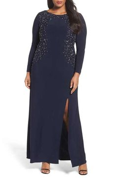 Alex Evenings Embellished A-Line Jersey Gown (Plus Size)