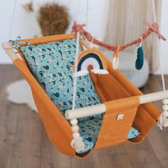 """Baby free motion swing """"PAINTS"""", snuggle baby nest, porch fabric swing, wooden hammock chair for toddlers and kids, newborn lounger Hanging Cradle, Hanging Swing Chair, Swinging Chair, Indoor Hammock, Hammock Swing, Hammock Chair, Swing Painting, Wooden Hammock, Home Swing"""