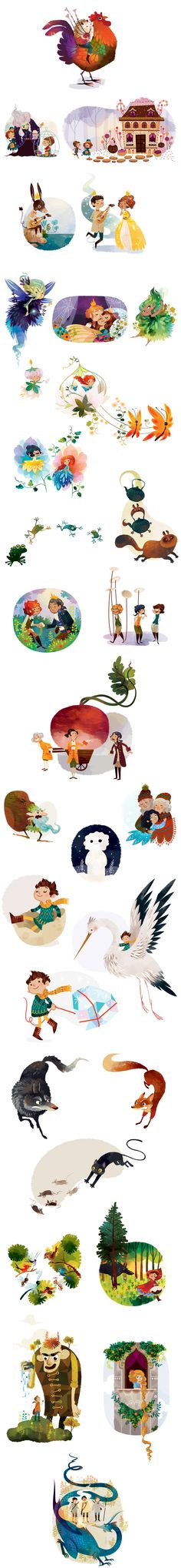 "A seleccion of vignettes for ""Hanz the Hedgehog"", ""Hansel and Gretel"", ""The Turnip"", ""The twelve Huntsmen"", ""The Sleeping Beauty"" and other classic fairy tales."