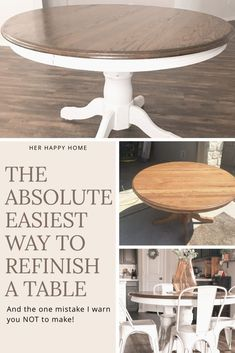 DIY Refinished Farmhouse Table (Beginner Tutorial Learn how to take an old rundown table, and refinish it into a beautiful farmhouse table with this tutorial for beginners! Painted Kitchen Tables, Dining Table Makeover, Kitchen Table Makeover, Kitchen Paint, Kitchen Decor, Kitchen Ideas, White Round Kitchen Table, Refinishing Kitchen Tables, Coffee Table Refinish