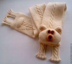 """Купить Шарф """"Медвежонок"""" - однотонный, молочный, шарф детский, шарф вязаный, шарф спицами, зверошарф"""