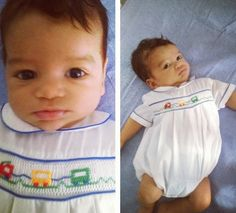 Vintage Baby Clothes /Vintage Petit Ami, Like New, Baby Boy's Train Bubble Smocked Romper. $20.00, via Etsy.