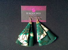 Items similar to Wax Fans Earrings on Etsy Fabric Earrings, Fabric Beads, Diy Earrings, Earrings Handmade, Handmade Jewelry, Woven Fabric, Diy African Jewelry, African Accessories, African Earrings