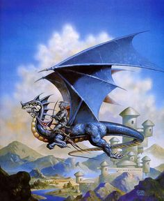 Sorrel's Dragons: another piece of D&D artwork. Should you really be wearing plate armour while riding that rather small flying steed, sir? Clyde Caldwell is the artist overloading this dragon.
