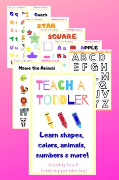 1be07251601 Teach a Toddler- Dowlnload and print this 19 page activity book! Help your  toddler learn shapes
