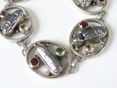 """Vintage Sterling Silver 925 Gray Biwa Pearl Genuine Gemstone ARTISAN Bracelet 8"""" #Handmade #Tennis"""