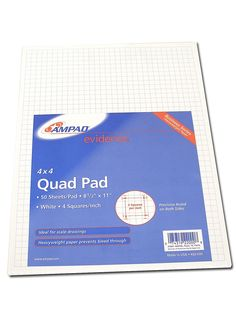 - Get a square deal with these Evidence Quad Pads by Ampad. Squares printed on both sides of each page. Click the pic to learn more: Quad, Square Deal, Thumbnail Sketches, Sketch Paper, Both Sides, Drawing Skills, Prismacolor, Amazing Architecture, White Paper