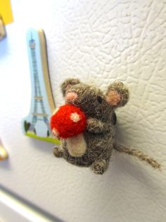 Needle Felted Mouse Magnet Needle felted by WildWhimsyWoolies