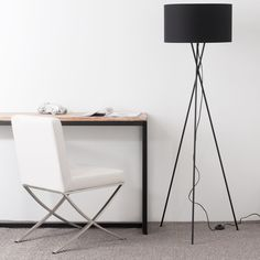 Metal Tripod Floor Lamp with Black Cotton Lampshade on Maisons du Monde. Take your pick from our furniture and accessories and be inspired! Home Theater, Decoration, Black Cotton, Floor Lamp, Office Desk, Modern Design, Lounge, Lights, Living Room