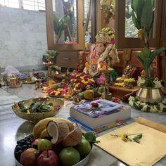 Ganpati Decoration Design, Pooja Rooms, Ganesh, Mythology, Table Settings, Home, Ad Home, Place Settings, Homes