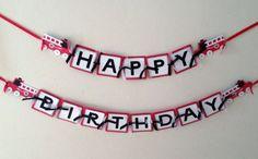 Boys Birthday Banner, READY TO SHIP, Fire Truck Birthday Decorations, Firetruck banner, red black white