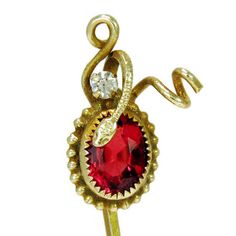 Vintage Antique Stickpin Victorian Jewelry Serpent Motif in 14k Gold with Ruby and Diamond