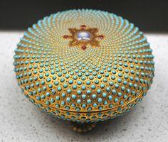 Chicago Exposition C 1880 Antique Coalport Gilded Jeweled Beaded Lidded Box