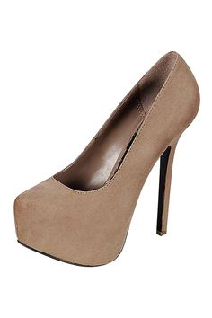 FAUX SUEDE SOLID PUMPS-Taupe
