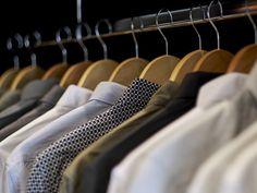 Wardrobe styling detail, inspiration, mens shirts, coat hangers,