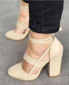 5 Colors Sexy Gladiator 8CM Thick Heel lace-up Pump