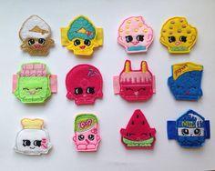 Shopkins Hair Clips - Cupcake Queen, Soda Pops, Kooky Cookie, Melonie Pips, Toasty Pop, Bubbles, Lippy Lips, Spilt Milk, Ghurty