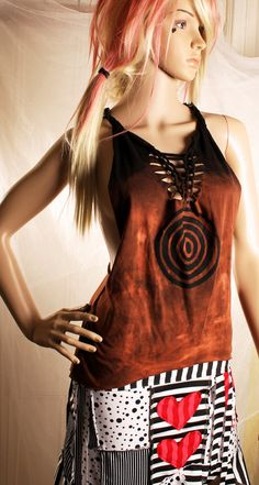 Tribal Racer Back T Shirt, cut up destroy tie dye, braided open back, Black Brown soft cotton Bulls Eye Top. Crude Things