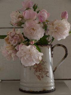 Tout le charme d'un vieux broc rouillé mais rendu si délicat avec ces roses thés!